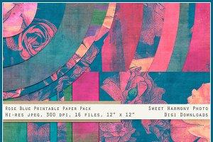 Rose Blue Vibrant Art Paper Set