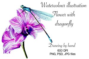 Watercolour dragonfly on flower