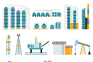 Oil industry flat style vector