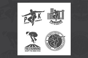 Set of parkour badges