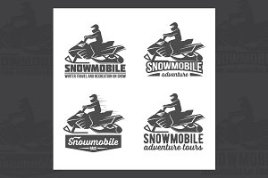 Set of snowmobile badges