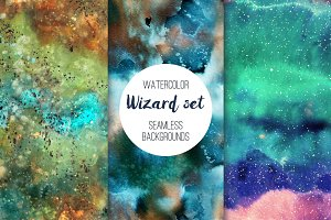 Wizard set: seamless patterns