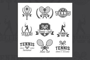 Tennis sports logo and labels