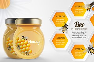 Honey bee vector set