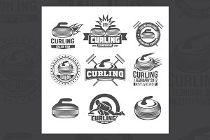 Set of vintage curling labels