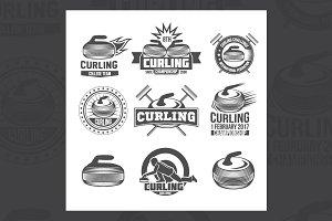 Set of vintage curling labels