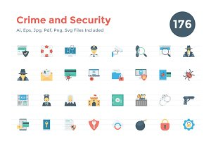 176 Flat Crime and Security Icons