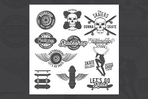 Set of skateboarding badges