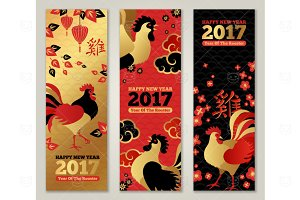 Banners with Roosters