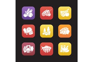 Food groups. 9 icons. Vector