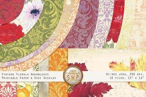 Paper Vintage Floral Woodblock 1