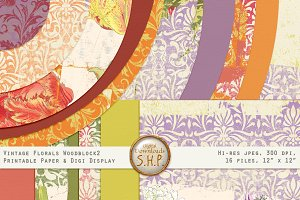 Paper Vintage Floral Woodblock 2