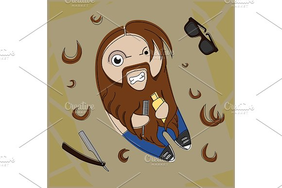 Hipster bearded dude. Vector in Illustrations