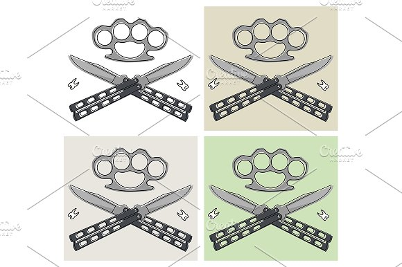 Crossed butterfly knifes. Vector - Illustrations