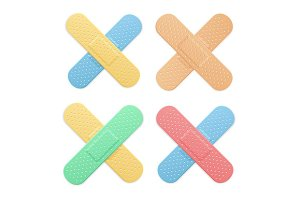 Plaster Color Cross Set. Vector