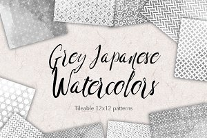 Grey Watercolor Japan Patterns