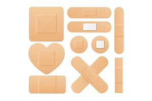 Plaster Strip Medical Set. Vector