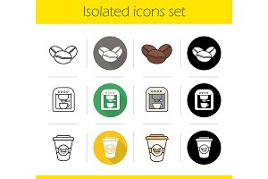 Coffee. 12 icons set. Vector
