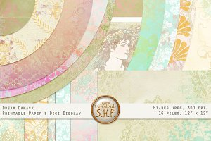 Dream Damask Texture Pastel Papers