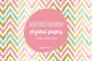 Gold Ikat Chevron Digital Papers