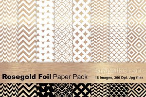 Rose Gold Foil Paper Pack