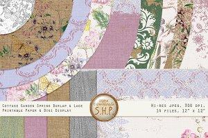 Summer Cottage Burlap & Lace Pink