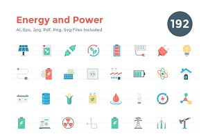 192 Flat Energy and Power Icons