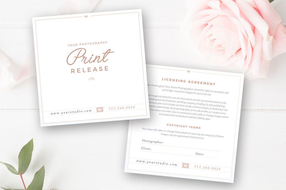 Photographer Print Release Template Card Templates Creative Market