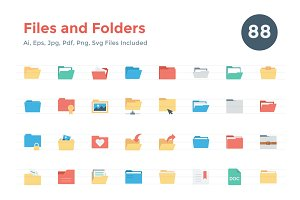 88 Flat Files and Folders Icons