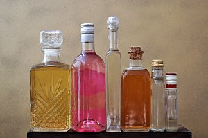 row liquor bottles