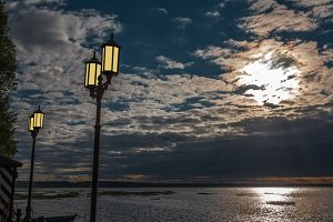 yellow lamps ashore