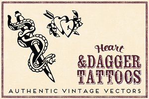 Retro Heart & Dagger Tattoos