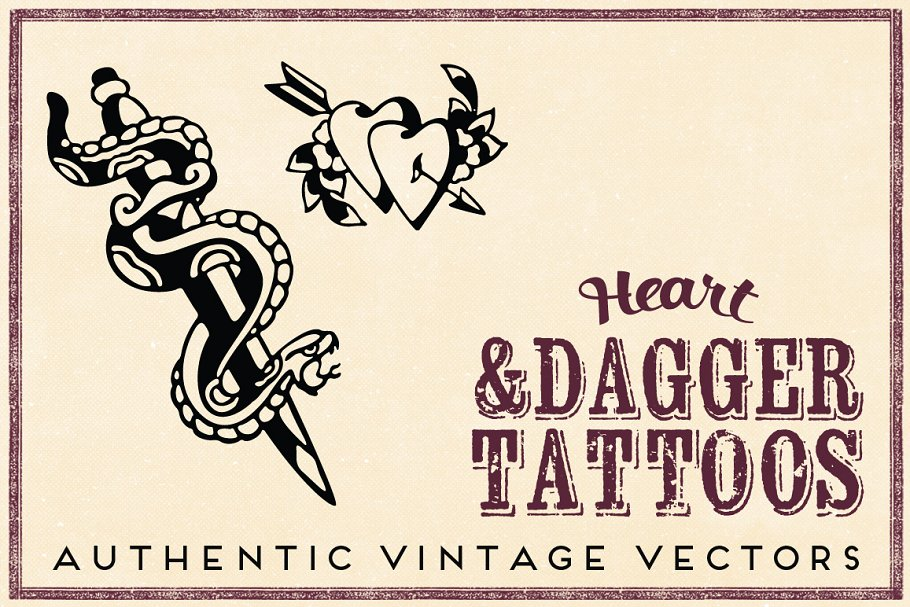 Retro Heart Dagger Tattoos