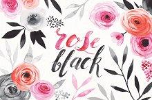 watercolor rose & black set