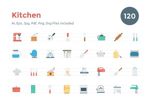 120 Flat Kitchen Icons