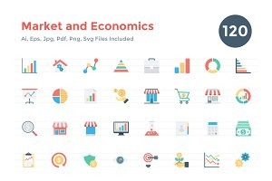 120 Flat Market and Economics Icons
