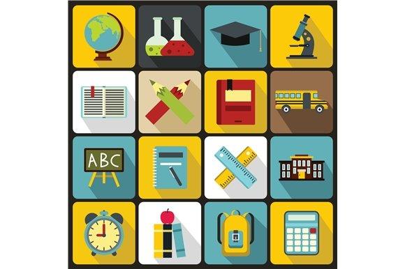 School icons set, flat ctyle