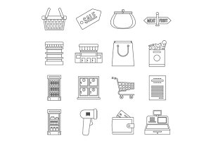 Supermarket icons set, outline ctyle