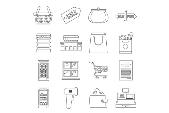 Supermarket icons set, outline ctyle in Graphics