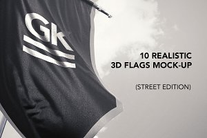 10 Realistic 3D Flags Mock-Up v2