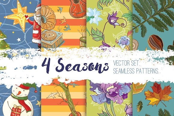 4 seasons.Big vector set of patterns