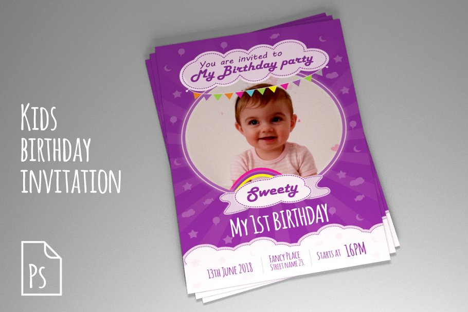 Kids Birthday Invitation PSD Templates Creative Market