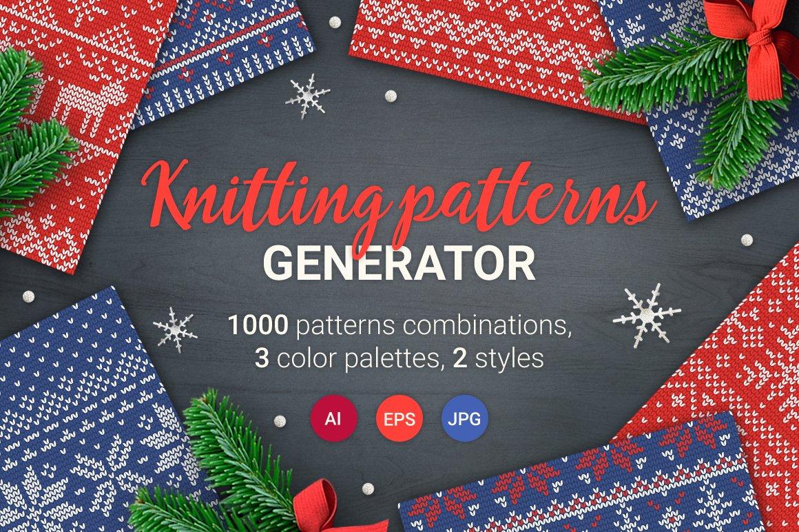 1000 Knitting Patterns Generator Graphic Patterns Creative Market