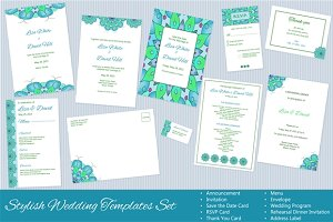 Set of Vector Wedding Templates
