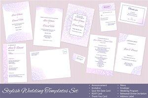 Set of Vector Wedding Templates