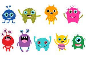 Cute little monsters clipart set