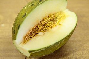 Toad skin melon halved