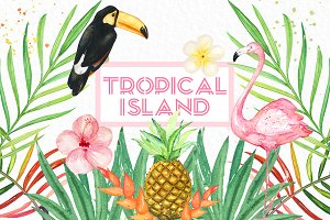 Tropical island. watercolor clipart.