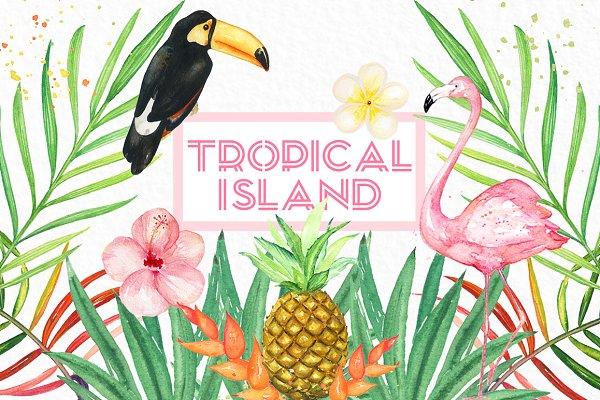 Tropical island. watercolor clipart…