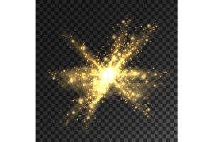 Golden glitter particles and sparks